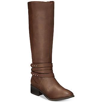 Material menina mulheres Damien tecido amêndoa Toe joelho alta equitação botas