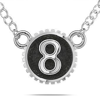BIXLER Número '8' Collar colgante de moda en plata de ley