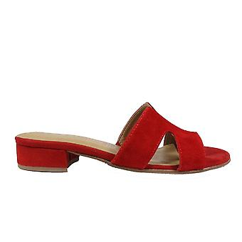 Tamaris 27123 Red Suede Leather Womens Slip On Mule Sandals