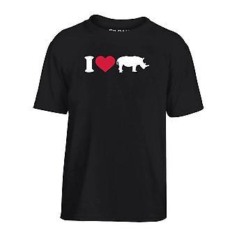 T-shirt bambino nero dec0162 i love rinoceronti