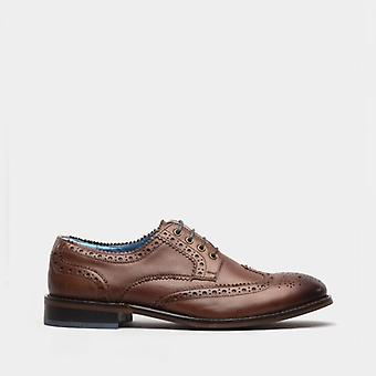 Oswin Hyde Carter Mens Leather Brogues Shoes Cognac