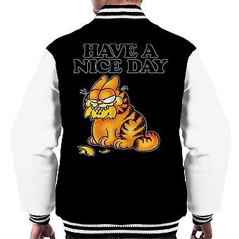 Garfield Smashed Smiley Face In Mouth Have A Nice Day Men's Varsity Jacket