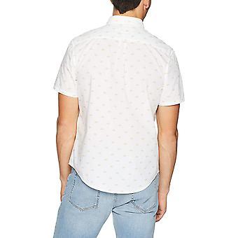 Original Penguin Men's Short Sleeve Print On Stretch Poplin, Bright White Ext...