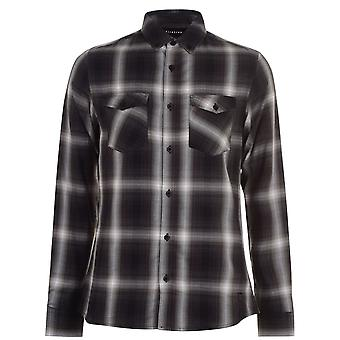 Firetrap Mens Long Sleeve Check Shirt gefaltet Kragen voller Knopf Top