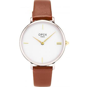 Opex OPW038 Watch - ROTONDE Leather Bracelet Brown Tier Steel Silver Women