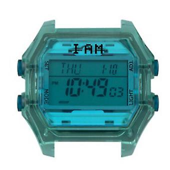 Watch I Am The Watch IAM-008 - Translucent Mint Box Blue Glass and Green Buttons / Horn 18 mm Set