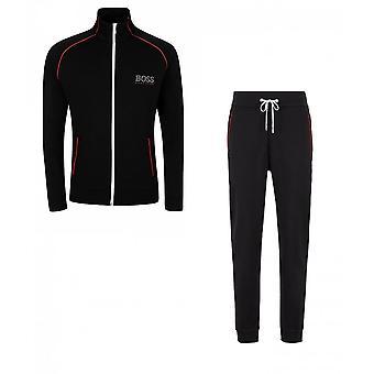 Hugo Boss Cotton Slim Fit Funnel Zip Black Tracksuit