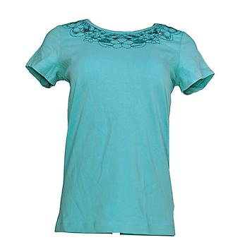 Isaac Mizrahi Live! Womens Top Floral Cut-Out Knit T-shirt Blue A220520 PTC