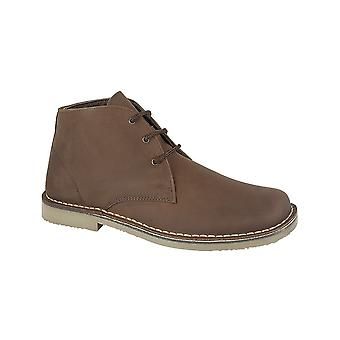 Roamers Brown Waxy Leather 3 Eyelet Desert Boot Fuller Fitting Textile Lining Tpr Sole