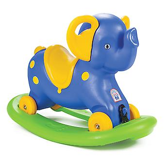 Pilsan Rocking Elephant 2in1 Rocker & Foot to Floor Ride On Blue/Yellow