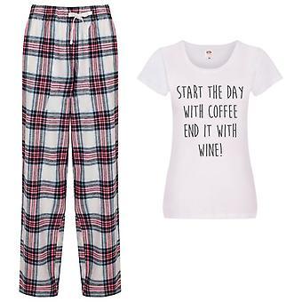 Začněte den s kávou Konec to s vínem Tartan Kalhoty pyžama