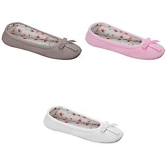 Slumberz Womens/Ladies Slippers With Bow Detail