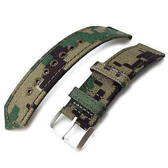 Strapcode fabric watch strap 20mm, 21mm or 22mm miltat ww2 2-piece woodland camo cordura 1000d watch band with lockstitch round hole, sandblasted