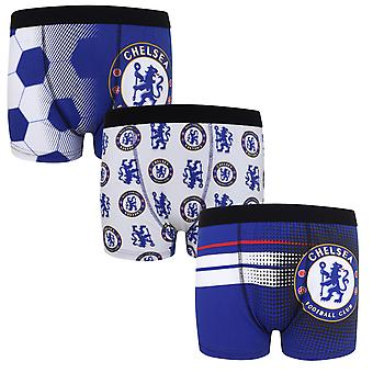 Chelsea FC Official Football Gift 3 Pack Boys Crest Boxer Shorts