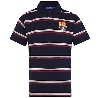 FC Barcelona Mens Polo Shirt Striped OFFICIAL Football Gift