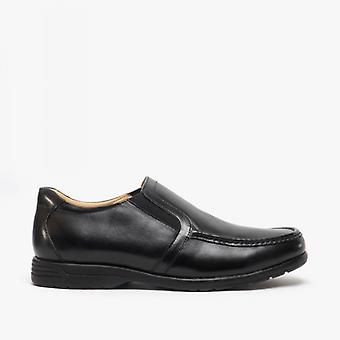Roamers Hubert Mens Couro Extra Wide Slip On Shoes Black