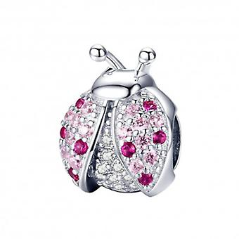 Sterling Silver Charm Pink Ladybug - 6073
