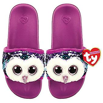 TY Flippable Sequin Flip Flops - Moonlight The Owl - Size Large (3-5)