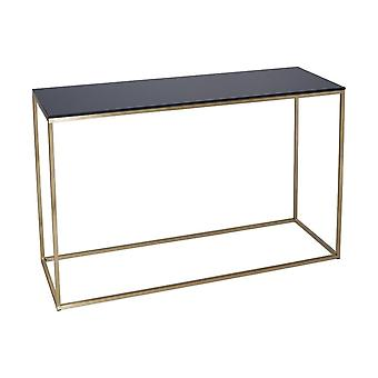 Gillmore Black Glass And Gold Metal Contemporary Console Table