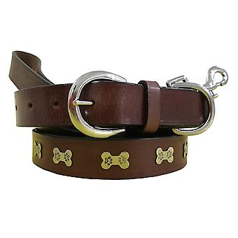 Bradley crompton genuine leather matching pair dog collar and lead set bcdc19brown