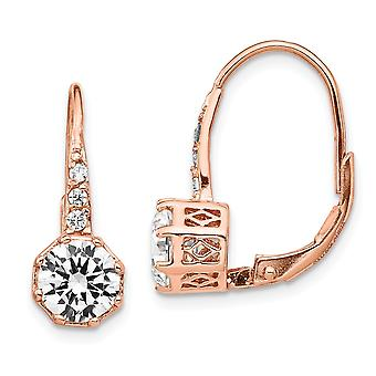 925 Sterling Silver Leverback CZ Cubic Zirconia Simulerad Diamond Rose 14k Guldpläterad Long Drop Dangle Örhängen Smycken