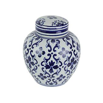 Blue And White Transferware Ceramic Ginger Jar With Lid 7.75 Inches Tall