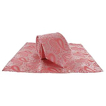 Michelsons London tonale Polyester Paisley Tasche Platz und Krawatte Set - Coral-Pink