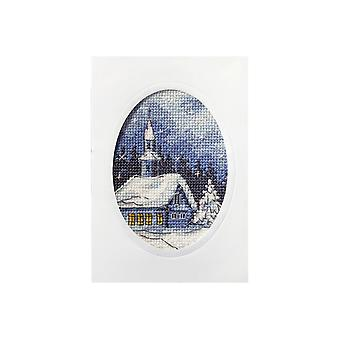 Orchidea Printed Cross Stitch Card Kit - Snowy Christmas Church