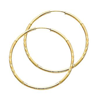 14k Yellow Gold 1.5mm Budded Sparkle Cut Endless Hoop Earrings 38mm Jewelry Gifts for Women
