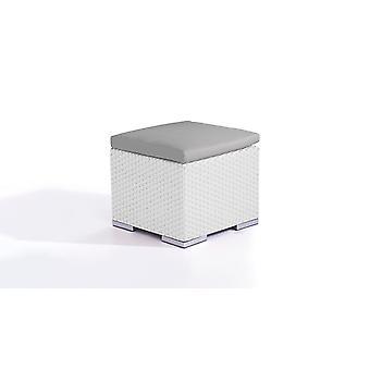 Polyrattan Cube kruk 50 cm - wit satijn