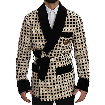 Dolce & Gabbana rote Rosen Baumwolle Robe Mantel Wrap Jacke