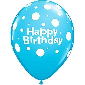 Qualatex 11 Inch Happy Birthday Multicoloured Polka Dot Latex Balloons (Pack Of 6)