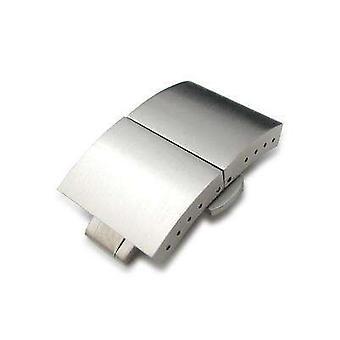 Strapcode klokke lås 20mm eller 22mm dobbel fold butterfly kuppel form forlenget deployant lås / spenne, børstet