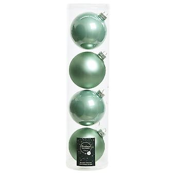 4 10cm Eucalyptus Green Glass Christmas Tree Bauble Decorations