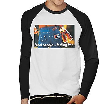 Pepsi ihmiset tunne vapaa miesten baseball pitkähihainen T-paita