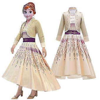 Girls Frozen 2 Cosplay Princess Anna 2 Piece Party Costume Fancy Dress
