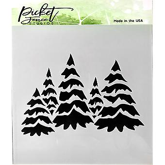 Picket Fence Studios Field of Snowy Trees Stencil