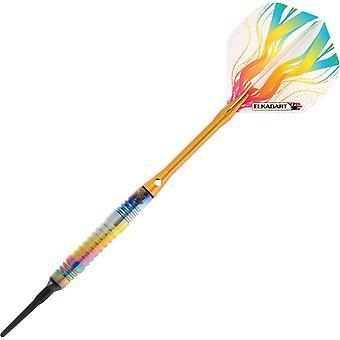 21-3153-16, Elkadart Rainbow 90% Tungsten Soft Tip Darts Multi Color Titanium Coating 16 Grammes - Pack de 2