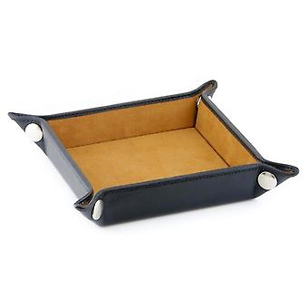 Black Malvern Leather Coin Tray