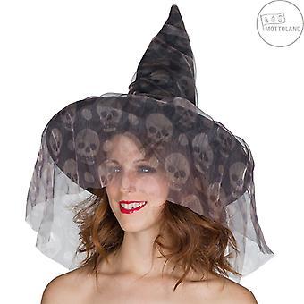 heks lue hodeskaller lue heks spiss lue slør hodeskalle halloween