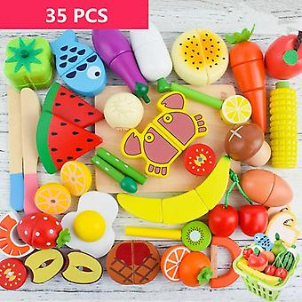Wooden Cutting Cooking Food Toy Set- Magnetic Wood Vegetable Fruit Pretend To Play Kitchen Kit Toy Gift