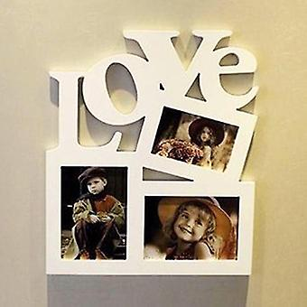 Diy Photo Frame With Hollow Love Letter - Family Picture Holder Storage For Wall