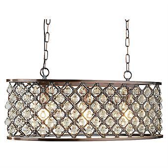 Zoeklicht Markiezin - 3 lichte ovale plafondhanger bar koper met glazen kristallen, E14