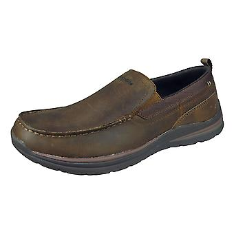 Skechers Superior 2,0 Jeveno miesten slip on nahka loafers/Kengät-ruskea