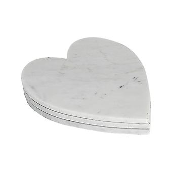 Heart Shaped Marble Food Serving Plates / Platters - 230x270mm - White - Pack of 3
