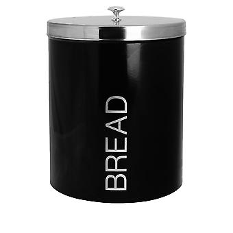 Contemporary Bread Bin - Steel Kitchen Storage Caddy with Rubber Seal - Black