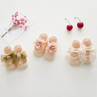 Lace Flower Newborn Baby Socks Cotton Anti-slip Kids Floor Bow Spring Summer