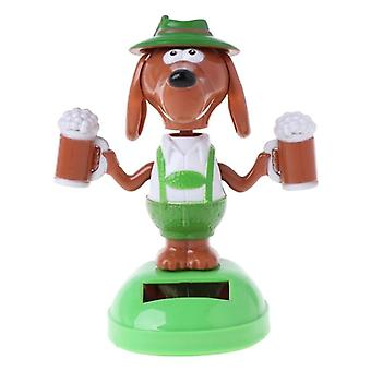 Solar Powered Dancing Bobble Head Øl Hund Educational Legetøj Bil Ornament Kids