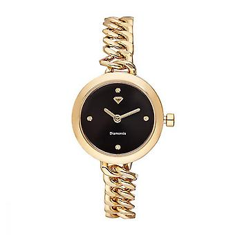 Kate Women's Watch Diamonds 0.012 quilates - Pulseira de metal de ouro de discagem preta