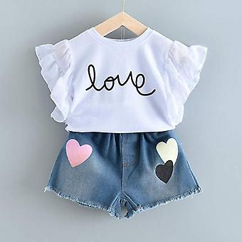 Summer Casual Sets Flowers Blue T-shirt+  Pants Clothing Kids Suit For 3-7